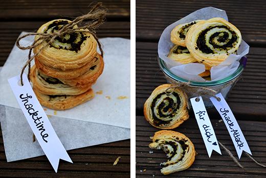 OLiven-Blätterteig-Schnecken; herzhafter selbstgemachter Snack