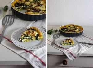 Polenta-Quiche mit Spinat-Feta-Füllung - vegetarisches Quiche-Rezept