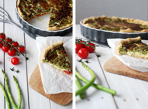Quiche mit grünem Spargel und Tomaten - vegetarisches Rezept