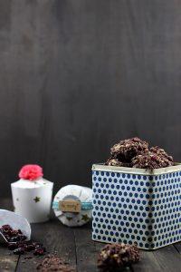 Rezept für Schoko-Cranberry-Kekse. Löffelplätzchen, Weihnachtsplätzchen Rezepz