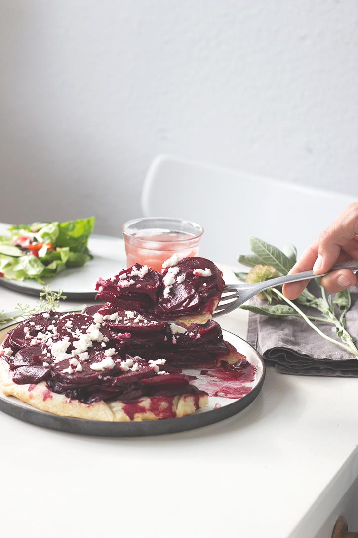 Rote Bete Tarte Tatin mit Feta, vegetarisches Rezept