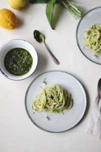 Bärlauch Rezept: Bärlauch-Ricotta-Pasta mit Zitrone. Rezept mit Bärlauchpesto