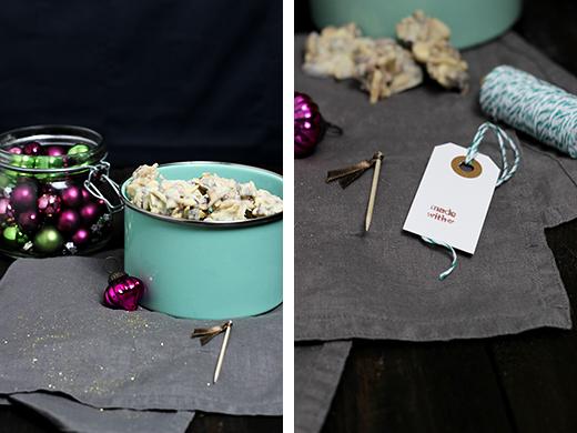 Schoko Crossies selber machen mit weißer Schokolade, Mandeln und Cranberrys. Geschenke aus der Küche selbstgemacht