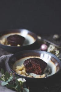Rote Bete-Schoko-Küchlein mit Birnen-KOmpott Rezept Dessert vegetraisches Weihachtsmenü