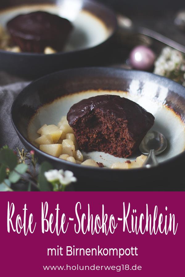Rezept Rote Bete-Schoko-Küchlein mit Birnenkompott Pinterest