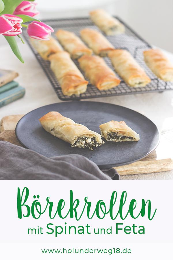 Pinterest-Grafik Sigara Börek mit Feta und Spinat gefüllt