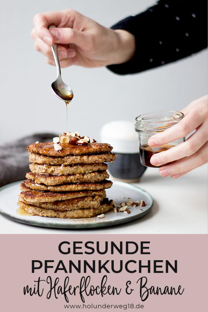 Rezept für gesunde Pfannkuchen mit Haferflocken und Banane - zuckerfrei und ohne Mehl. Gesundes Frühstück ganz einfach und lecker