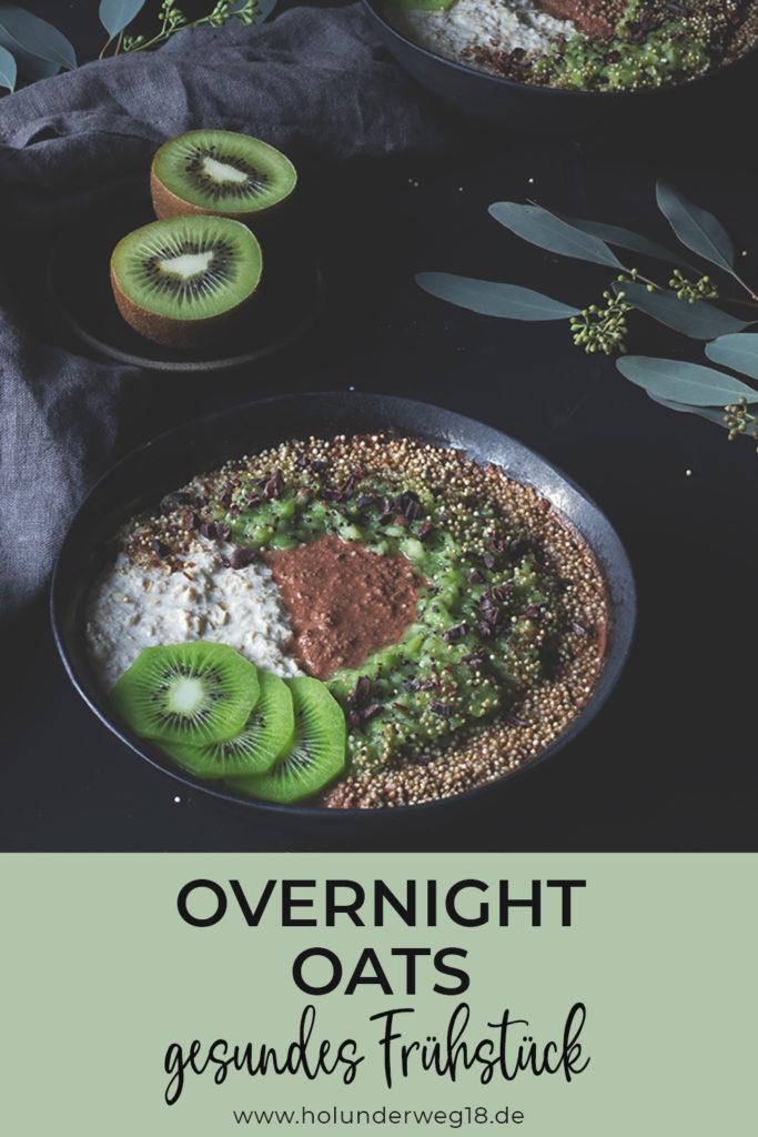 Overnight Oats - gesundes Frühstück einfach vorzubereiten. Dieses Grundrezept für Overnight Oats mit Haferflocken und Hirseflocken ist vegan und kann mit Schokolade und Obst, zum Beispiel Kiwis, aufgepeppt werden.