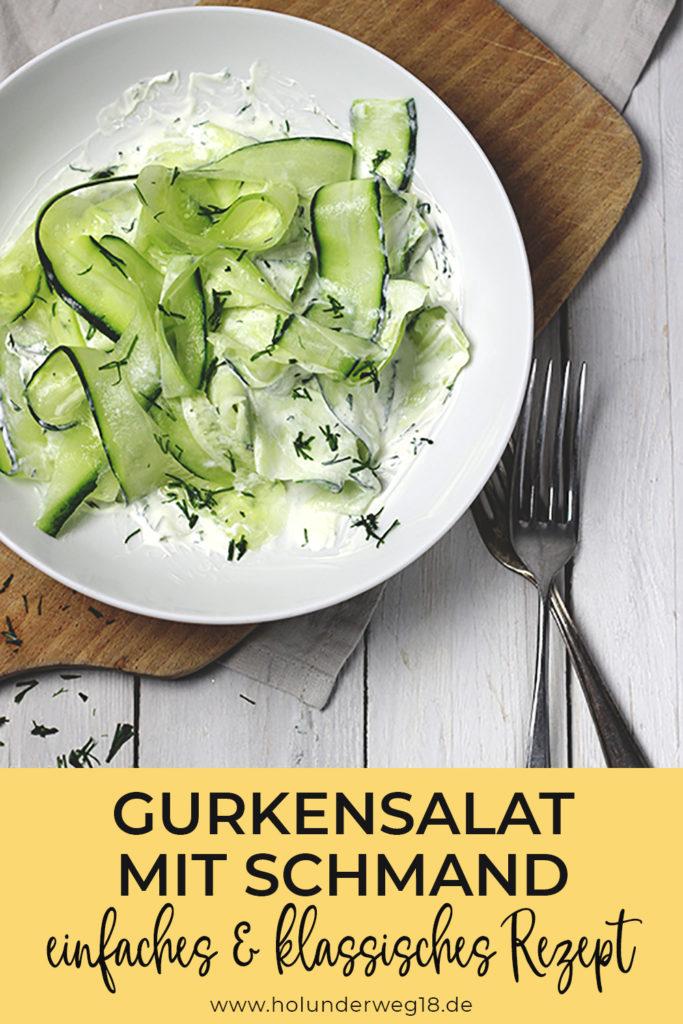 Einfacher Gurkensalat mit Schmand und Dill - klassisches Rezept für Gurkensalat
