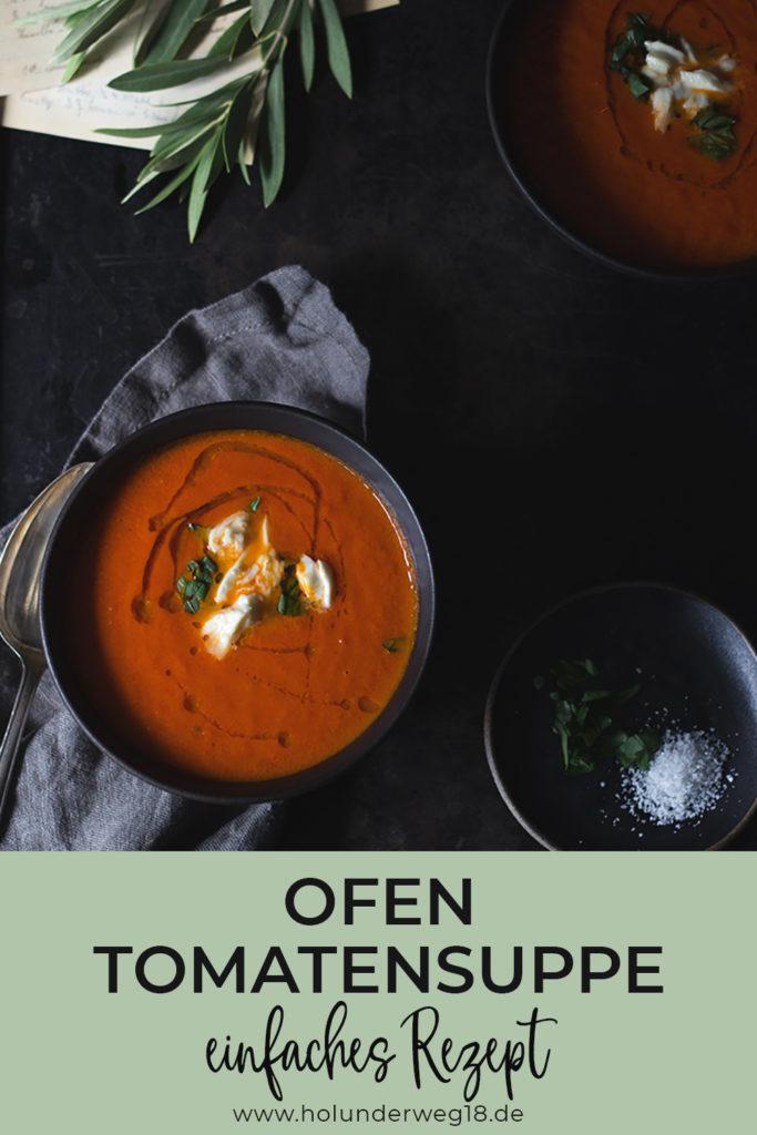 Rezept für Ofentomatensuppe - nur 7 Zutaten mit im Ofen gegarten Tomaten
