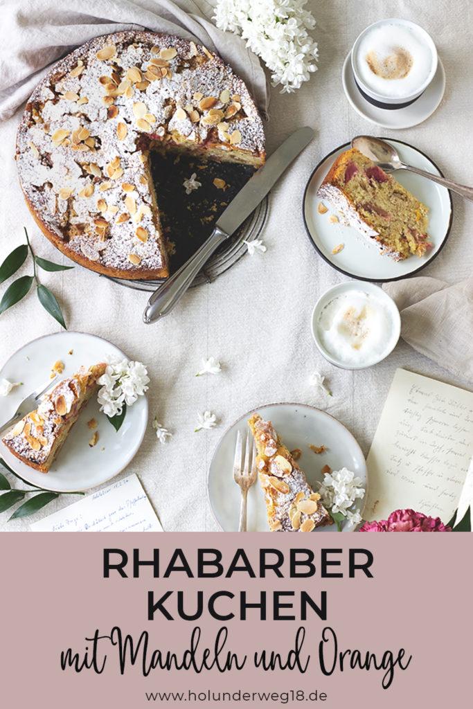 Einfacher Rhabarberkuchen mit Mandeln und Orange