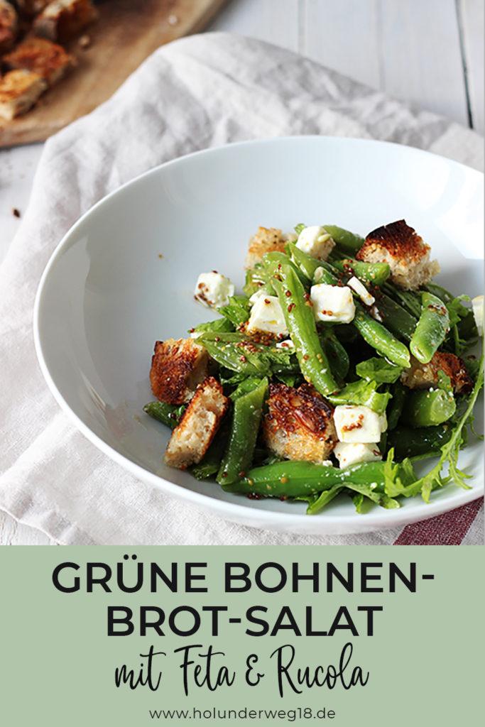 leichter Sommersalat: Grüne Bohnen-Brot-Salat mit feta und Rucola - vegetarisches Rezept