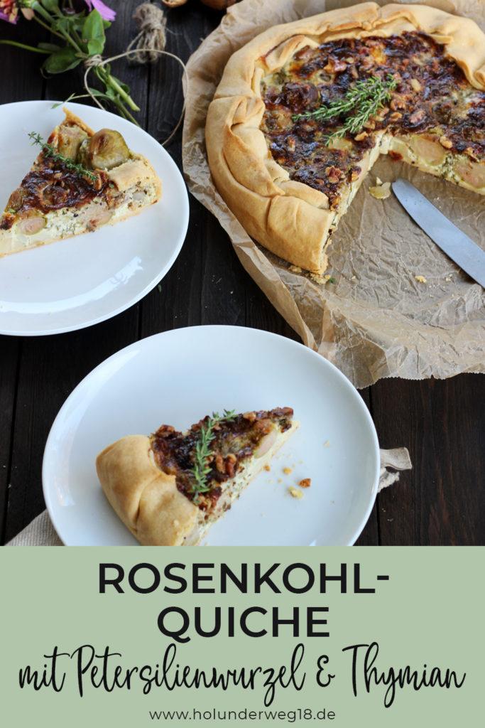 Rezept für vegetarische Quiche mit Wintergemuese: Rosenkohl-Petersilienwurzel-Quiche