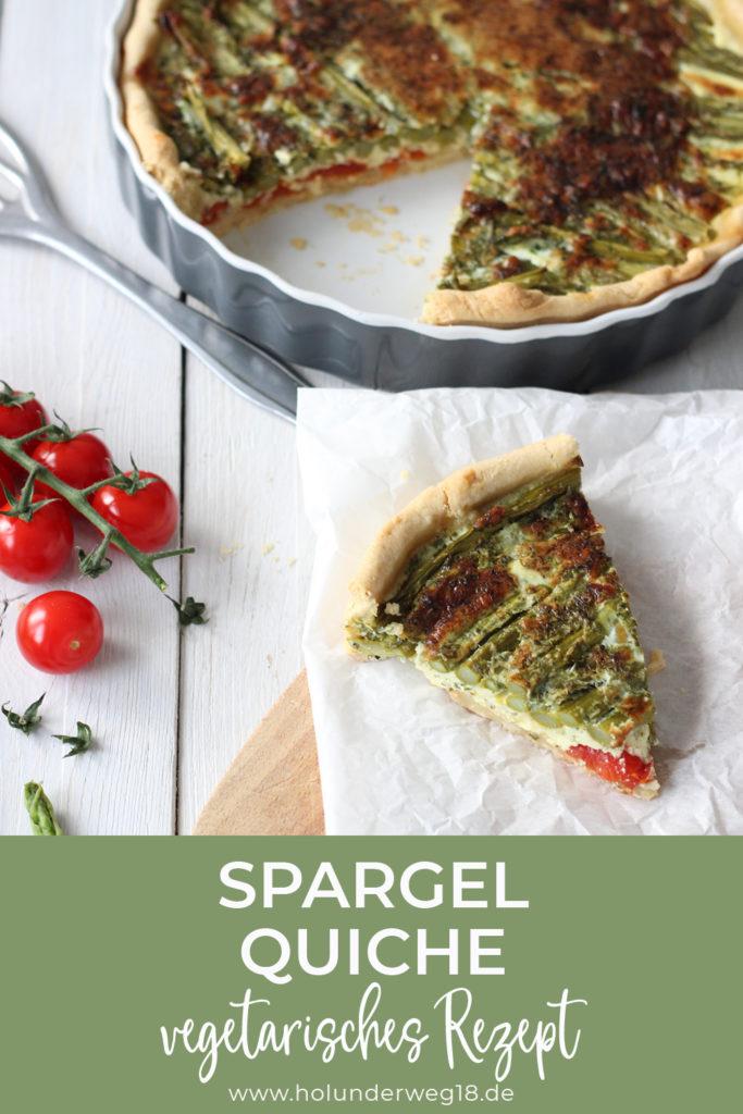 Vegetarisches Rezept für Spargelquiche mit grünem Spargel und Tomaten