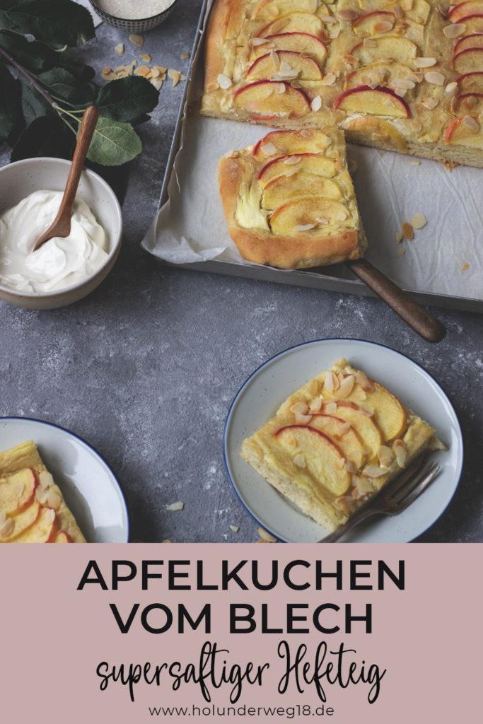 Apfelkuchen vom Blech mit saftigem Hefeteig